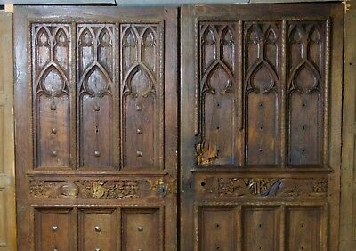 Medieval Castle Doors Double Entry Architectural (ca.1480). Carved Oak Iron
