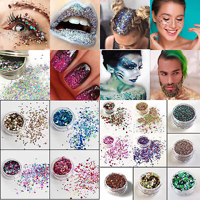 10g Mixed Face Tattoo Body Dance Holographic Flake Chunky Festival Glitter Nail