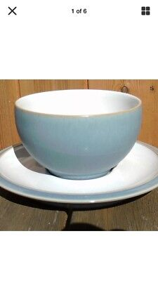 Denby Blue Jetty Breakfast Cup And Saucer Pale Blue/white