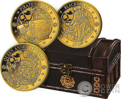 PIRATES Set Gilded Gold Plated Coins 25 Cents Barbados 2018