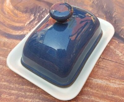 Denby Blue Boston Rectangular Butter Dish With Lid No Chips knob handle