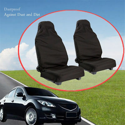 2 pcs Car Seat Cover Front Waterproof Van Auto Vehicle Protector Black Universal