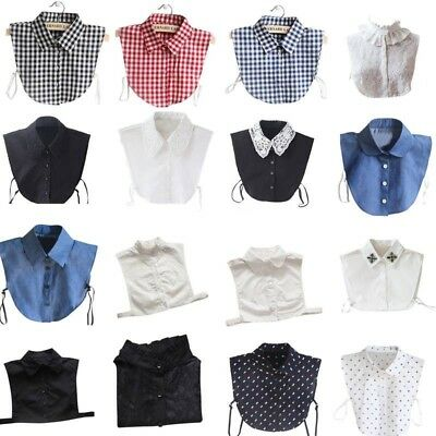 UK Women Men Career Business Fake Half Shirt Blouse Peter Pan Detachable Collar