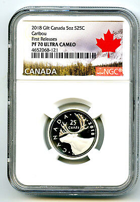 2018 Canada 25 Cent .9999 Silver Proof Quarter Ngc Pf70 Ucam First Releases