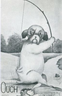 Old French Bulldog Fishing Postcard PC Dog Signed AVERY 1911 USA Made Ouch!