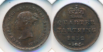 1852 British Quarter Farthing ### Uncirculated ### Rare This Nice >> No Reserve