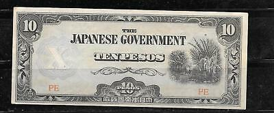 PHILIPPINES #108a 1942 VF CIRC 10 PESO OLD BANKNOTE PAPER MONEY NOTE HAND STAMP