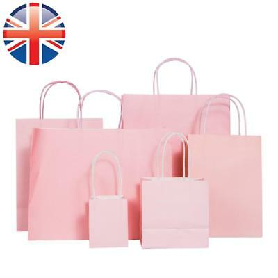 *UK Seller* Pink Paper Kraft Loot Bag Gift Carrier Wedding Birthday Party 6 SIZE