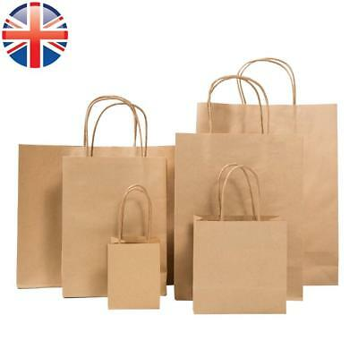 *UK Seller* Brown Paper Kraft Loot Bag Handle Gift Carrier Wedding Party 6 SIZES
