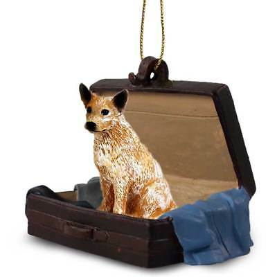 AUSTRALIAN CATTLE DOG IN SUIT CASE Christmas ORNAMENT resin FIGURINE red heeler