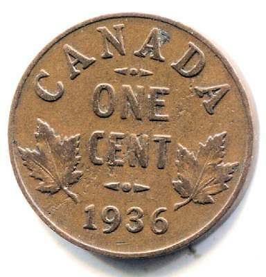 1936 Canadian 1 Cent Maple Leaf Penny Coin - Canada - King George V