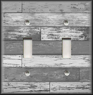 Metal Switch Plate Cover - Rustic Industrial Decor Reclaimed Wood Design Grey