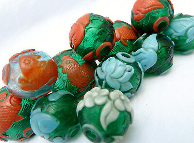 12 Antique Qing Chinese Carved Peking Glass Trade Beads Mandarin Court Necklace