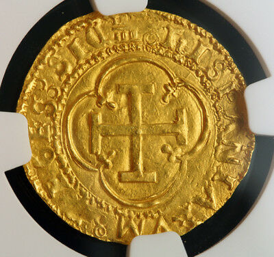 1555, Spain; Charles & Joanna. Gold Escudo Cob Coin. Top Pop! Granada! NGC MS64!