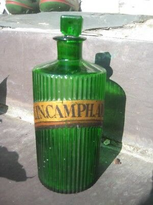 """Apothecary Bottle Green  Ribbed-Label""""a """"lin.camph.am.""""base Marked W-Chemist Vgc"""