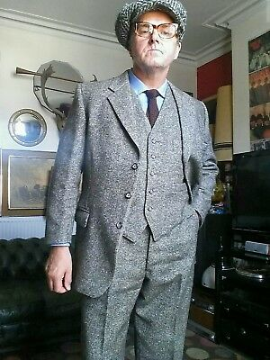 "Superb Samuel Butler Tweed Herringbone 3 piece Suit.Peaky Blinders.Large 43-44""c"