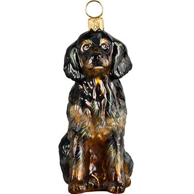 Black and Tan Gordon Setter Polish Glass Christmas Ornament Dog Tree Decoration