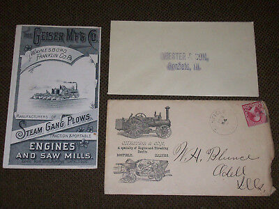 Geiser Traction Engine Tractor & Thresher Brochure & Envelope Bonfield Illinois