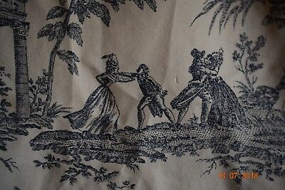 Vintage French Toile De Nantes  Thick  Fabric 60 Ins Wide 84 Ins Long