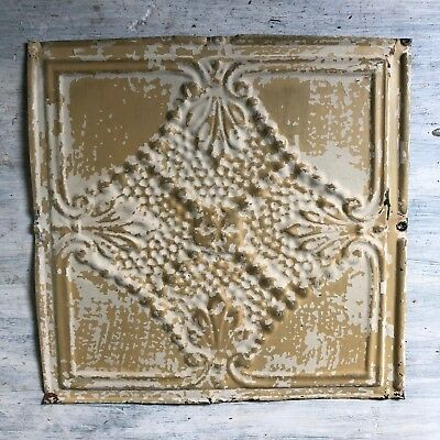 1890's 12 x 12 Antique Tin Ceiling Tile Tan Metal Reclaimed 372-18