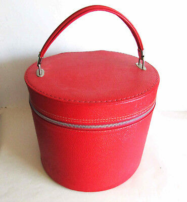 Vintage Hat Box Zippered carry on Luggage Cosmetics Travel Train Case FREE SH