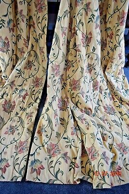 Vintage  French Thick Brocade Curtains Lined Each 60 Ins Wide 84 Ins Long
