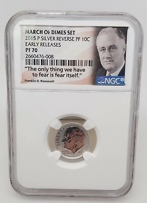 2015 March of Dimes Reverse Proof Dime PF 70