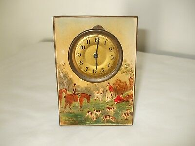 An Unusual Antique Fox Hunting Scene Easel Clock