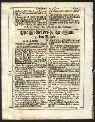 1705 New Testament German Bible Leaf St Paul's Epistle to Ephesians Chapter 1