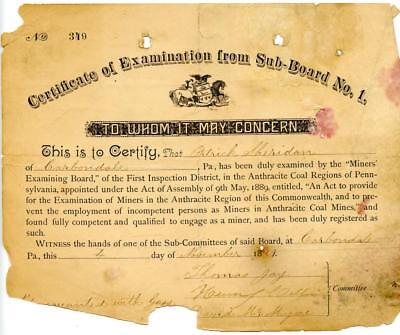 1889 Anthracite Coal Miner Certificate of Competency Carbondale Pennsylvania #8