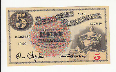 Sweden 5 kronor 1949 UNC @ low start