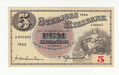 Sweden 5 kronor 1950 AUNC @ low start