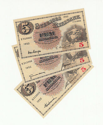 Sweden 3x5 kronor 1952 AUNC @ low start
