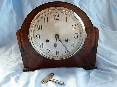 Vintage 'Enfield' 8 Day Mantel Clock in Working Order but needs attention.