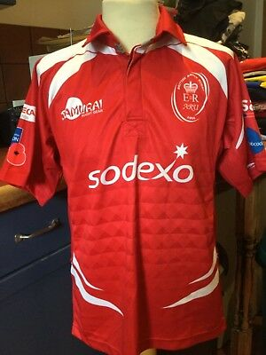 British Army Red Shirt Player Issue Rugby Union Shirt Size Small Peter Austin