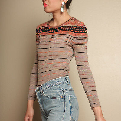 vtg 70s skinny STRIPE KNIT earthtone CACHE boho hippie space dye jumper sweater