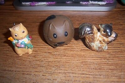 Squirrels!!! 3 small squirrels Figurines, If your a squirrel collector? PERFECT