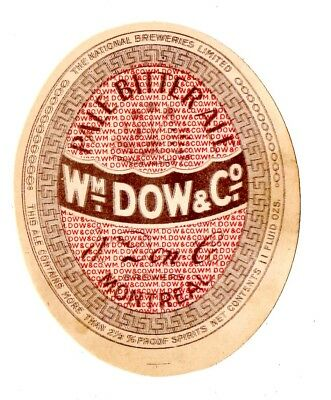 1920s NATIONAL BREWERIES WILLIAM DOW & CO, MONTREAL, CANADA BITTER ALE LABEL