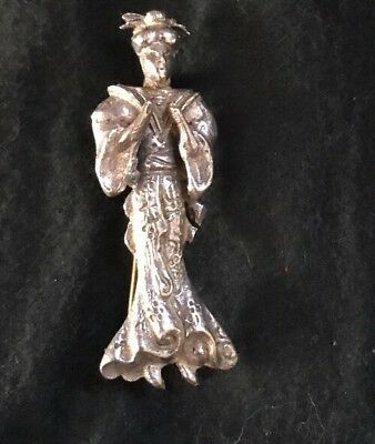 Antique STERLING Silver BROOCH Japanese GEISHA Woman Girl Pin Exquisite Kimono