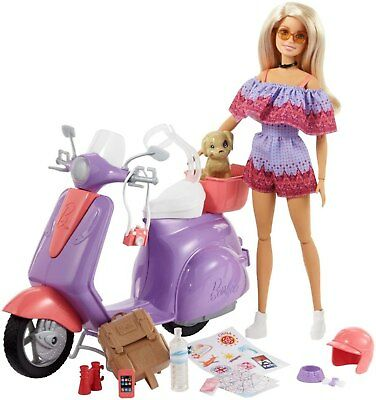Barbie Pink Passport Travel Doll Purple Scooter Made to Move