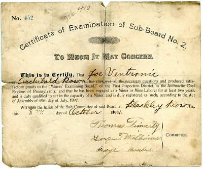 1901 Anthracite Coal Miner Certificate Competency Blackley Blakely Pennsylvania