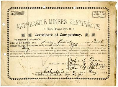 1902 Anthracite Coal Miner Certificate of Competency Carbondale Pennsylvania