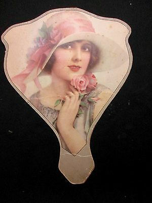 c 1919 ADV. VINTAGE HAND FAN ~BEAUTIFUL LADY WHEATON ILL