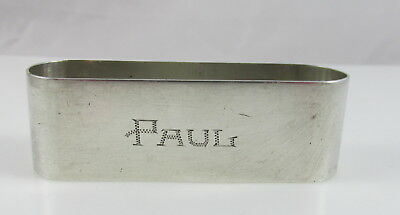 "Antique Sterling Silver Oval Napkin Ring Plymouth Rosebud Engraved ""Paul"""