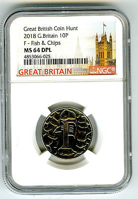 2018 10P Great Britain ' F '- Fish  & Chips Ngc Ms64 Dpl British Coin Hunt