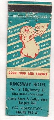 Kingsway Hotel, No. 2 Highway, Chatham ON Ontario Matchcover