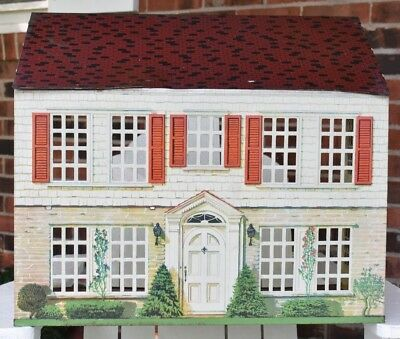 Vintage Metal Toy Dollhouse 1940s 2 Story Doll House Tin Litho Woolworth Retro