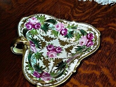 "Vtg.NipponDish,MapleLeafMark,TriangleShape,6 x 6 1/2"" Hd.Ptd Gold Trim,Roses,"