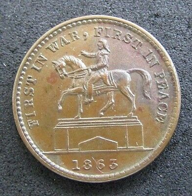 1863 Civil War Token First In War First In Place Union Forever