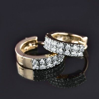 Promise Women Stunning Pave Sapphire Crystal Gold Platinum Filled Hoop Earrings